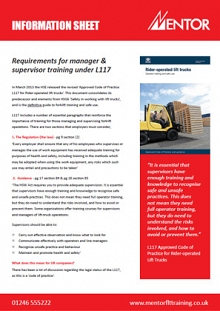 Training requirements for managers under L117